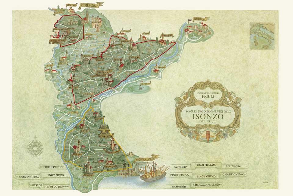 Cartina della DOC Friuli Isonzo