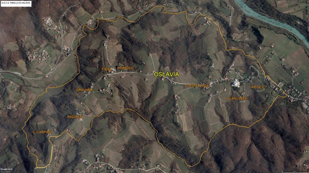 Cartina della zona di produzione della Ribolla di Oslavia